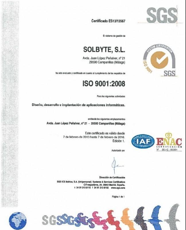 Solbyte obtiene las certificaciones ISO 9001 e ISO 14001