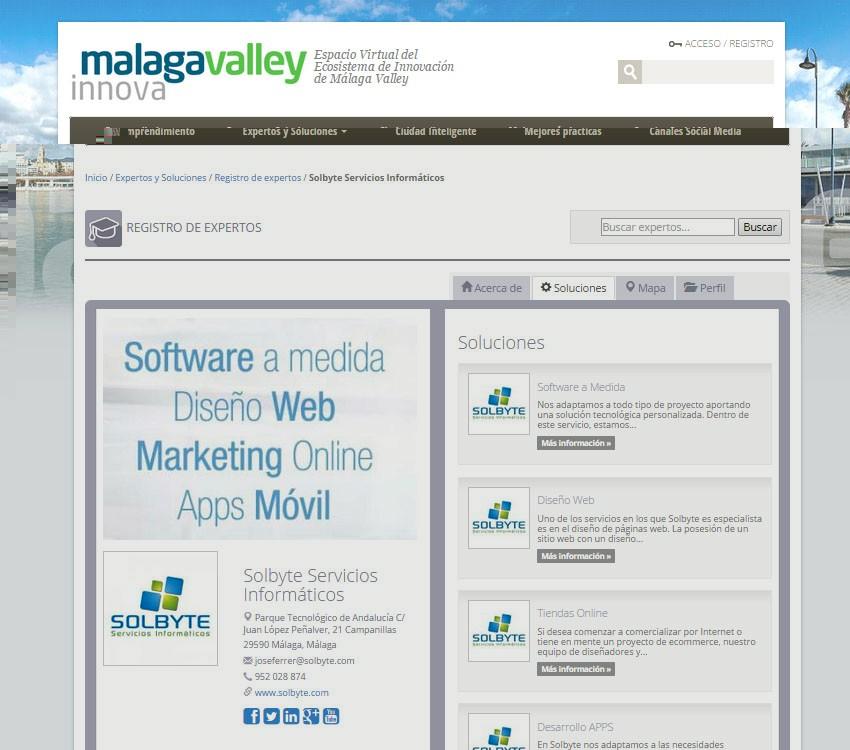 Solbyte, empresa inscrita en la plataforma tecnológica Málaga Valley Innova