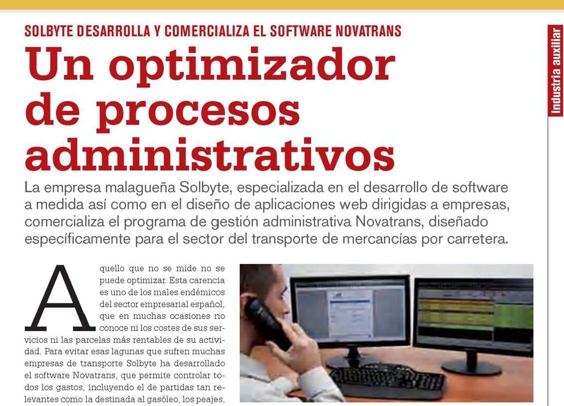 La revista TodoTransporte publica un especial sobre Solbyte y su software Novatrans
